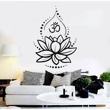 Lotus Flower Om Symbol Wall Decal 20 X 28 Black Walmart Com Walmart Com