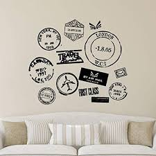 Amazon Com Wall Quotes Travel Series Postmarks Vinyl Wall Decal Travel Wanderlust Mail Passport Stamp Motivational Inspiration Quote London New York Home Kitchen