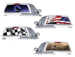 Clearvue See Through Vinyl Window Graphics American Flag The Patriot Wolves Hunting Fishing Puerto Rican Flag Mexican Flag