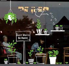 Fresh Green Bontany Wall Decals Flower Pot Watering Shop Window Wall Stickers Stick Inside Show Outside Glass Murals Leaf Vinyl Living Room Thefuns On Artfire