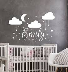 Name Wall Decal Baby Nursery Wall Sticker Girl Name For Son S Nursery Vinyl Decals Clouds Wall Art Decor Moon Star Stickers D236 Wall Stickers Aliexpress