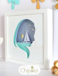 woman and sea silhouette 3d paper cut