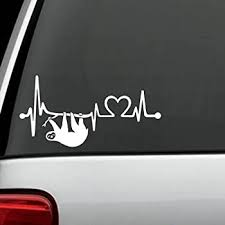 Amazon Com Bluegrass Decals K1092 Sloth Heartbeat Lifeline Heart Love Decal Sticker Automotive