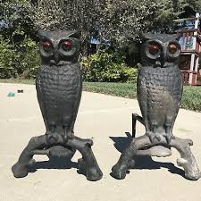 cast iron owl fireplace andirons 144u