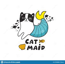 Mermaid Funny Cat Scandinavian Doodle Print For Children Textile Or Room Decor Stock Vector Illustration Of Animal Nursery 167762898