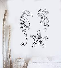 Wall Decal Jellyfish Seahorse Starfish Marine Animal Sea Vinyl Sticker Wallstickers4you