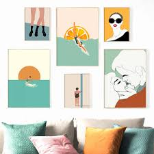 Cartoon Fashion Sexy Girl Surf Boy Diving Girl Nordic Posters And Prints Wall Art Canvas Painting Wall Pictures Kids Room Decor Painting Calligraphy Aliexpress