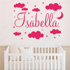 Wall Decal Girl Name Nursery Room Wall Stickers Clouds Moon Stars Personalized Vinyl Art Baby Sticker Wallpaper Hd221 Wall Stickers Aliexpress