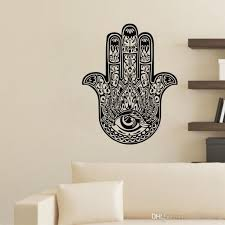 Hand Of Fatima Wall Stickers Indian Buddha Lotus Vinyl Stickers Home Decor Bedroom Wall Decals Hamsa Hand White Wall Decals White Wall Stickers From Moderndecal 10 43 Dhgate Com
