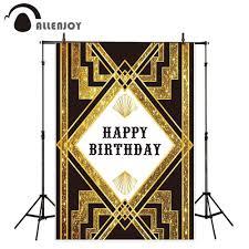 خلفيات صور من Allenjoy Gatsby لأعياد ميلاد سعيد أسود وذهبي لتزيين