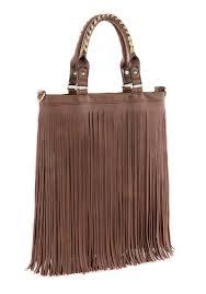 brown faux leather fringe handbag