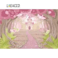 خلفيات وردية من Laeacco للتصوير الفوتوغرافي على شكل قلعة شجرة