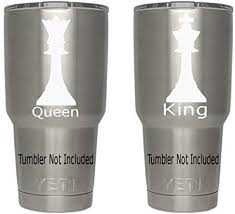 Amazon Com Classy Vinyl Creations King Queen Chess Piece Decals Tumbler Not Included His Hers Mr Mrs Decal Sticker Created For All Brands Of Tumblers Cups Mugs 3 5 X 1 8 White Automotive