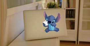 Cute Stitch Holding Apple Macbook Decal The Decal House