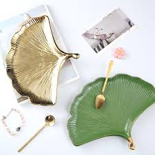 creative ginkgo leaf nordic green gold