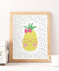pineapple girls wall art pink yellow
