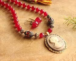ruby red vintage style pendant antique