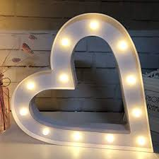 Amazon Com Qiaofei 3d Big Heart Sign Light 14 Inch Tall Led Plastic Heart Shaped Sign Lighted Marquee Heart Sign Wall Decor For Christmas Birthday Party Kids Room Living Room Wedding Party Decor White Home Kitchen