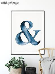 Navy Blue Ampersand Wall Art Ampersand Print Blue Watercolor Etsy