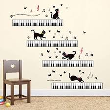 Amazon Com Ufengke Music Wall Stickers Piano Cat Wall Decals Art Decor For Girls Kids Bedroom Nursery Toys Games