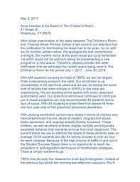 Letter From Denise Goodnow And Brigid Nease To The Children S Room May 9 Vtcng Com