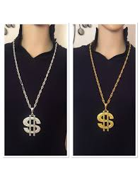 gold silver dollar sign necklace