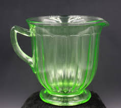 green vaseline depression glass footed