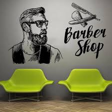 Wall Window Decal Sticker Barber Shop Man Salon Haircut Beard Face Tools Logo Salon Vinyl Decal Hipster Barbershop Deco Ba24 Wall Stickers Aliexpress