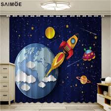 Best Offer 781b5c Cartoon Children Window Screen For Living Room The Bedroom Outer Space Rocket Printed Curtains Drapes Blinds Boys Room Decor Cicig Co