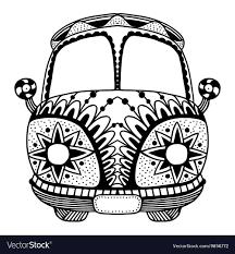 Hippie Vintage Car A Mini Van Royalty Free Vector Image
