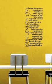 Imagine John Lennon Wall Sticker Song Lyrics Wall Art Etsy Wall Decal Quotes Inspirational Wall Stickers Song Lyrics Imagine John Lennon