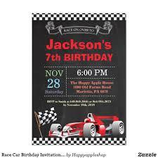 Race Car Birthday Invitation Boy Birthday Party Invitation