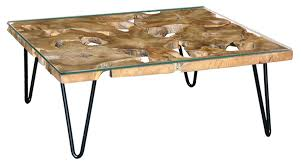 timber coffee table with tempered glass