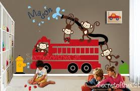 Nursery Wall Decal Wall Decals Nursery Firetruck Wall Etsy Nursery Wall Decals Wall Stickers Playroom Monkey Decal