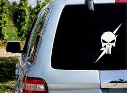 Amazon Com Ytedad Car Decal Stickers Car Decal Car Sticker Punisher Skull W Flash Thunder Phone Window Laptop Vinyl Decal Die Cut 15cm Home Kitchen