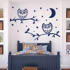 Shop Owl Vinyl Sticker Moon Stars Interior Design Home Mural Kids Nursery Room Bedding Decor Sticker Decal 22 X 30 Color Blue Overstock 15406930