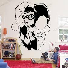 Self Adhesive Harley Quinn Wall Vinyl Decal Supervillain Comics Hero Vinyl Sticker Superhero Nursery Decor Wallpaper Wz156 Wall Stickers Aliexpress