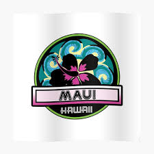 Maui Hawaii Hibiscus Flower Wave Travel Vacation Decal Pink Green Sticker By Myhandmadesigns Redbubble