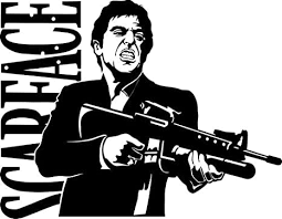 Amazon Com Scarface Vinyl Decal Sticker Bumper Car Truck Window 8 Wide Gloss Black Color Arts Crafts Sewing