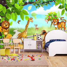 Custom 3d Mural Wallpaper Lion Tiger Cartoon Animal Forest Wall Painting Children Kids Room Bedroom Background Photo Decoration Wallpapers Aliexpress