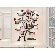 Amazon Com Kinbedy 3d Acrylic Wall Stickers Photo Frames Familytree Wall Decal Easy To Install Apply Diy Photo Gallery Frame Decor Sticker Home Art Decor Red Leaves With Dog Arts Crafts Sewing