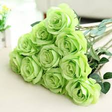High grade simulation Green rose Artificial Flowers Home Wedding ...