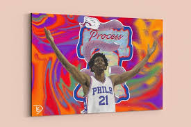 Joel Embiid Canvas Sixers Wall Art Painting Process Man Cave Etsy