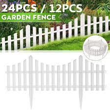 7 32 Metres 12 24pack Fence Garden Lawn Edging Border White Panel Plastic Home Interlocking White Plastic Garden Fencing Wish