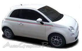 Ag1683 2007 2018 Fiat 500 Italian Side Red And Green Door St Fiat 500 Fiat Graphic Kit
