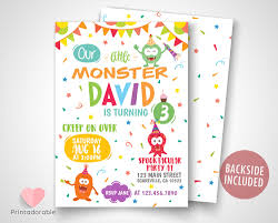 Colorful Monsters Invite Cute Monsters Invitation Monster Etsy