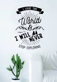 I Love The World Adventure Explore Quote Wall Decal Sticker Bedroom Li Boop Decals