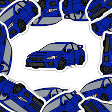 Subaru Wrx Sti World Rally Blue Pearl Car Die Cut Vinyl Sticker On Point Pins