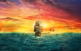 تحميل خلفيات المراكب الشراعية غروب الشمس الجزيرة المحيط عريضة