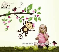 Monkey On A Jungle Branch With Birds Wall Decal